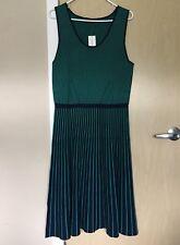 BANANA REPUBLIC Green/Navy Sleeveless Geometric Dress Size L Tall $148.00