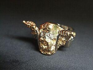 Bikerring, Totenkopf-Ring, 24 Karat, Vergoldet, Gold, Skull, Edelstahl Ring,