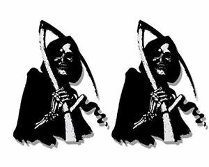 2 x SKULL REAPER/SIE - Small, Bikers Motorcycle Helmet, Sticker DECAL (Pair)-3""
