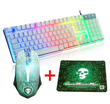 Gaming Keyboard and Mouse Combo Set With Mouse Pad Rainbow Color Backlit USB Key