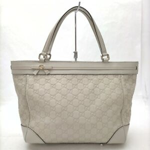 Gucci Tote Bag  Whites Leather 840435