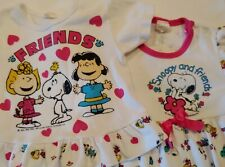Vintage Peanuts Snoopy and friends lot of 2 baby outfits pajamas pj 18 24 months