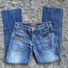 Miss Sixty Italy Light Medium Washed Straight Leg Vintage Zipper Pocket Denim 25