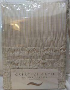 """Creative Bath Can Can Natural Striped Shower Curtain 72""""X 72"""" NIP"""
