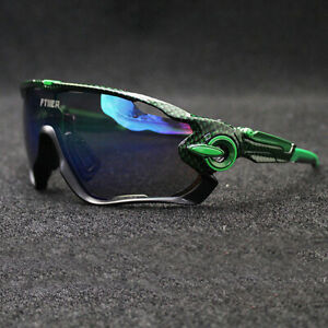 FTIIER Men's 5lens Cycling Glasses Bicycle Outdoor Sports Polarized Sunglasses