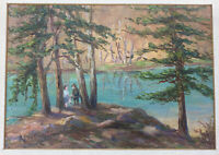 Antique Oil Painting Landscape Sunset Forest Original Impressionist R. Pertrich