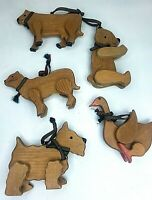 Vintage Wooden Cow,Goose,Cat,Bear,Dog, Christmas Ornament Lot of 5 Handmade Farm
