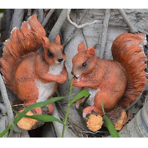Resin Cute Squirrel Statue for Fairy Garden Yard Decorative Art Craft Gift