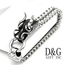 "NEW DG Men's 8.5"" Silver Stainless Steel DRAGON HEAD Franco Bracelet Unisex+Box"
