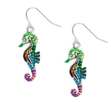 Multi-Color Seahorse Fashionable Earrings - Fish Hook - Silver Plated