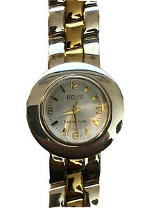 Ecclissi Sterling Silver Two Tone Reversible Jewelry Bracelet Band 32250 Watch