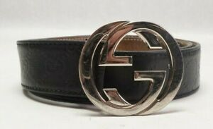 "Authentic Gucci Signature Men's Leather Belt - 105/42 1.5""W 114984 AA61N"