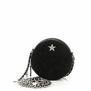Chanel Star Round Clutch with Chain Quilted Suede with Crystal Embellished