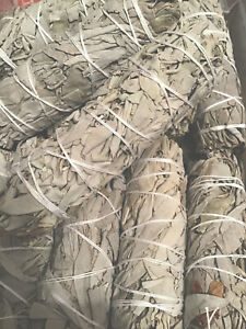 """SMUDGE STICK CALIFORNIAN WHITE SAGE ORGANIC 4.5-5"""" Inches 12cms CLEANSE PURIFY"""