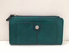 BNWT Authentic RELIC By FOSSIL Bleeker Zip Checkbook Wallet Teal $36