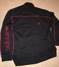 Vintage Adidas Trefoil Zip Up Track Jacket Spellout Large Black Striped 90's EUC