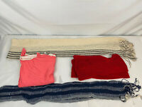 Old Navy Womens Cotton Scarves Lot of 4 Infinity Cable Knit Throw Red Beige P1