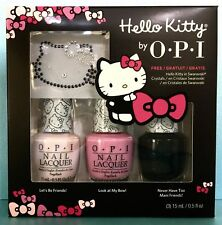 Opi Hello Kitty 3pc Nail Polish Set + Free Crystals - Ddh05 H82 H83 H91 Ltd Ed