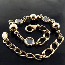 A631 GENUINE REAL 18K YELLOW G/F GOLD LADIES DIAMOND SIMULATED BRACELET BANGLE