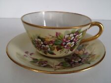 Buffalo China Signed R Stuart Apple Blossom Branch on Light Green Cup and Saucer
