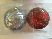 2 Red & Silver 4.5 Inch Shatter Resistant Christmas Ornament Decoration