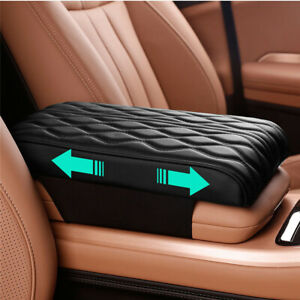 Universal Car Armrests Box Pad Cover Wave Style Cushion Premium Black PU leather