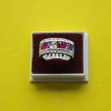Superb 925 Silver Ring With Multi Gems 5 Gr. Size N  - R  In Elegant Box