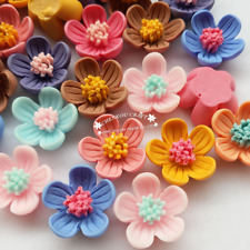 Assorted 30pcs Rose Flower Resin Flat Back Flatbacks Loose Bead 20mm Craft Beads