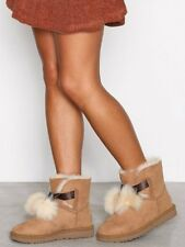WOMENS UGG AUSTRALIA Boots Gita Genuine Shearling Bow Brown Ankle Boot 6 M
