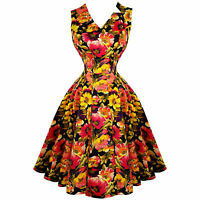 Hearts and Roses London Golden Marigold Floral 1950s Vintage Tea Party Dress