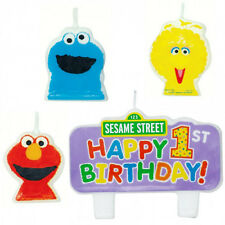 SESAME STREET 1ST BIRTHDAY PARTY SUPPLIES  MINI MOULDED CANDLES GENUINE LICENSED