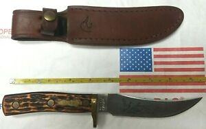 VINTAGE SCHRADE USA 160OT DUCKS UNLIM. FIXED BLADE MOUNTAIN LION KNIFE W/ SHEATH