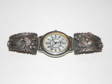 Old Navajo Pawn Simple Sterling Silver Ladies Watch Band Wristwatch Swiss Parts