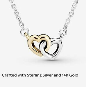 Brand new Pandora interlocking hearts necklace in 14k gold and sterling silver