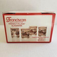 Vtg Franciscan Friendly Village Glassware Barware Executive Old Fashion 4-14 oz