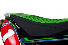 2006-2008 Kawasaki KXF 250 Black and Green with PLEATS  SEAT COVER BY Enjoy Mfg