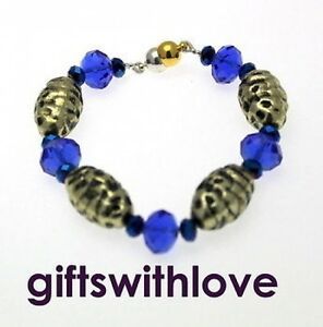 Blue crystal & Gold/Silver plated Bead  Bracelet with magnetic clasp