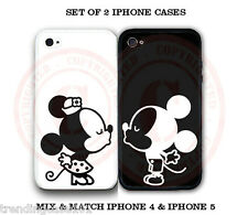Personalized Black White Mouse Love Couple COVER 2 Cases For iPhone 6S 5S S4 S5