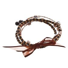 5PC Bracelet Set Copper Whisper Wire with Brown Wood Black Bead Clear Rhinestone
