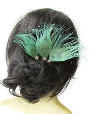 3 x Mint Green Silver Peacock Feather Hair Pins Bridesmaid Headpiece Vtg 1632