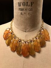 Art Deco Bakelite Necklace with Leaves in Amber, Brown and Moss Green