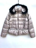ZARA QUILTED PUFFER JACKET FAUX FUR HOOD SIZE M