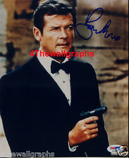 ROGER MOORE JAMES BOND 007 SIGNED 8X10 PHOTO OCTOPUSSY SPY DIE GUN PSA COA PROOF