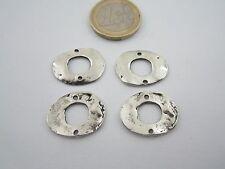 4 componenti in zama placcato argento effetto invecchiato misure 20x16 mm