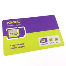 Koodo Multi Sim Card (Nano + Micro + Regular) $20 FREE AIR TIME CREDIT included