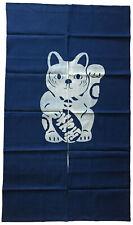 "Japanese Noren Curtain Home Business Tapestry 60""L Indigo Maneki Neko Lucky Cat"