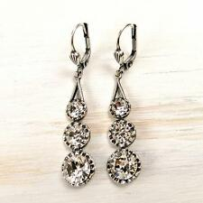 La Vie Parisienne Catherine Popesco 3 Crystals Linear Earrings in Clear
