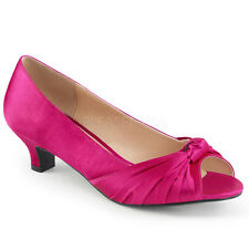 Pink Satin Peep Toe Vintage Pinup Low Heels Trans Womans Large Size Shoes 14 15