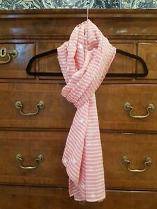 Joules Silver Spot 'foil' Scarf Pink And White Stripes, Worn Once