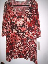 NWT Laura Ashley Womens Oversize Tunic with Zippers Lovely Fall Colors Size 1X